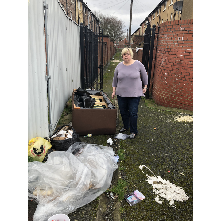 Jackie Pearcey is having to report fly tipping across Gorton and Abbey Hey despite Labour claims to be tackling the problem. (By Iain Donaldson)