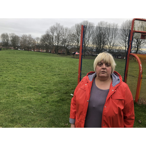 Jackie Pearcey opposes the sale of the local park on Taylor Street including the Red Rec. (By Iain Donaldson)